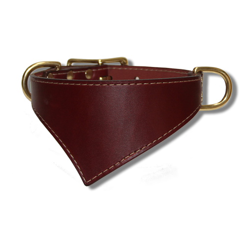 Shark Fin™ Collar, Urban Classic Style, Burgundy with Brass Hardware