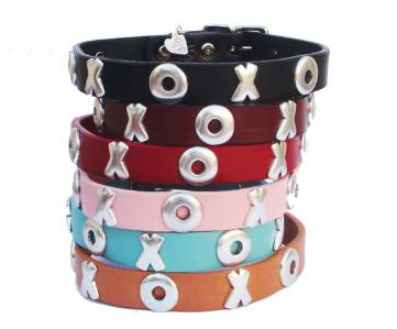 High Quality leather dog collar adorned with XOXO silver ornaments