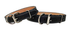 High Quality handmade leather dog collar with nickel hardware, color black