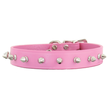 Spiked Leather Collar Pink