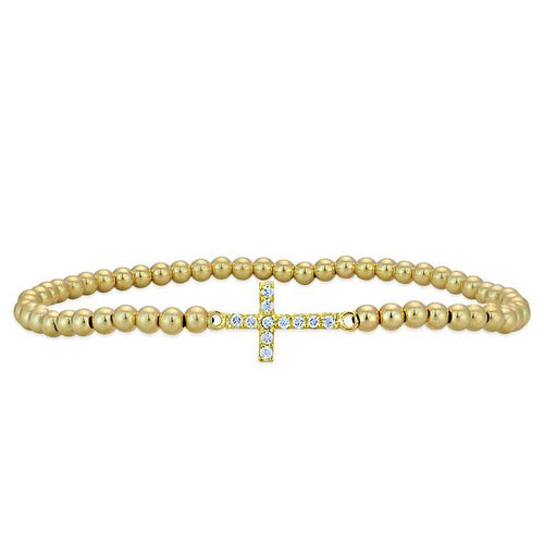 Cross Bracelet Gold Filled Sterling Silver Stretch Bracelet Cubic Zirconia Religious Bracelet