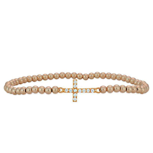 Cross Bracelet Rose Gold Filled Sterling Silver Stretch Bracelet Cubic Zirconia