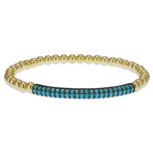 Pave Bar Bracelet Gold Filled Stretch Bracelet Turquoise Stones
