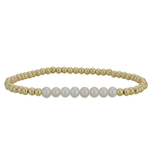 Semi Precious Bead Section Bracelet Stretch Bracelet Gold Filled Fresh Water Pearl