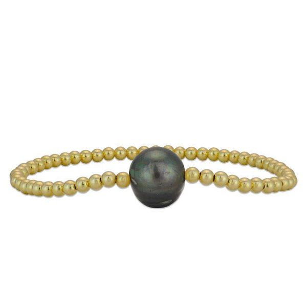 Gray Pearl Bracelet Stretch Bracelet Gold Filled