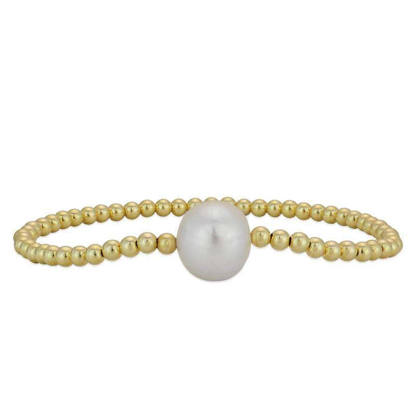 White Pearl Bracelet Stretch Bracelet Gold Filled