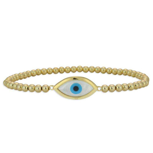 Evil Eye Bracelet Stretch Bracelet Mother of Pearl Evil Eye Gold Filled Sterling Silver