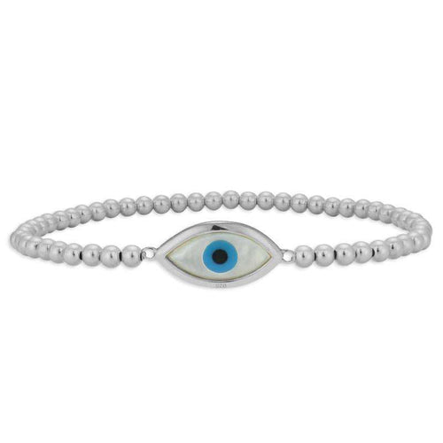 Evil Eye Bracelet Stretch Bracelet Mother of Pearl Evil Eye Sterling Silver
