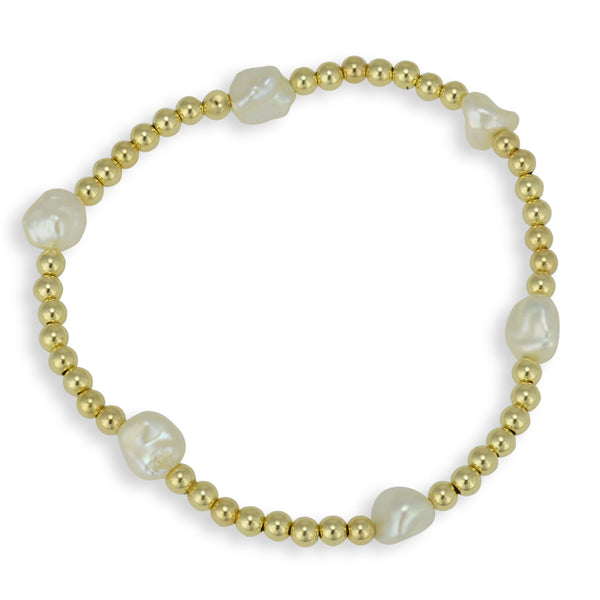 Pearl Bracelet, Stretch Bracelet, Gold Filled