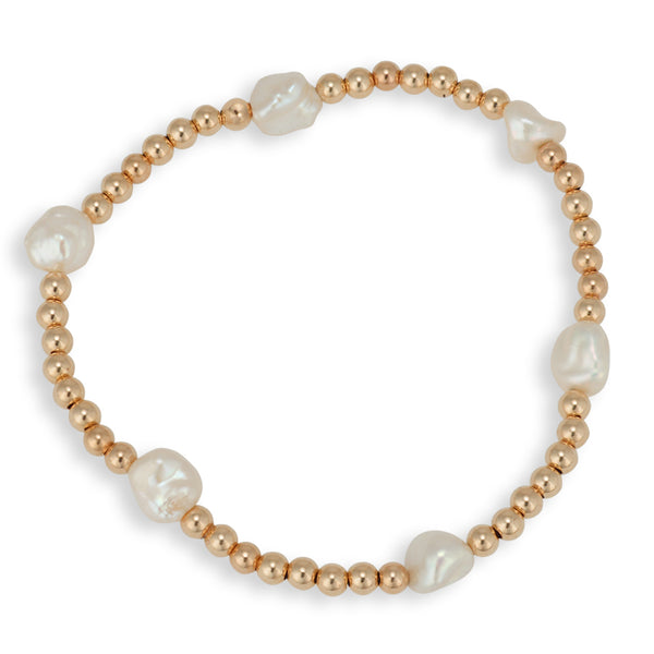 Pearl Bracelet, Stretch Bracelet, Gold Filled, Rose Gold Filled Bracelet