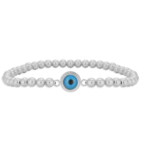 Evil Eye Beaded Bracelet Turkish Eye Good Luck Eye Sterling Silver