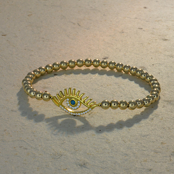 Clara Turquoise Evil Eye Bead Bracelet with Lashes