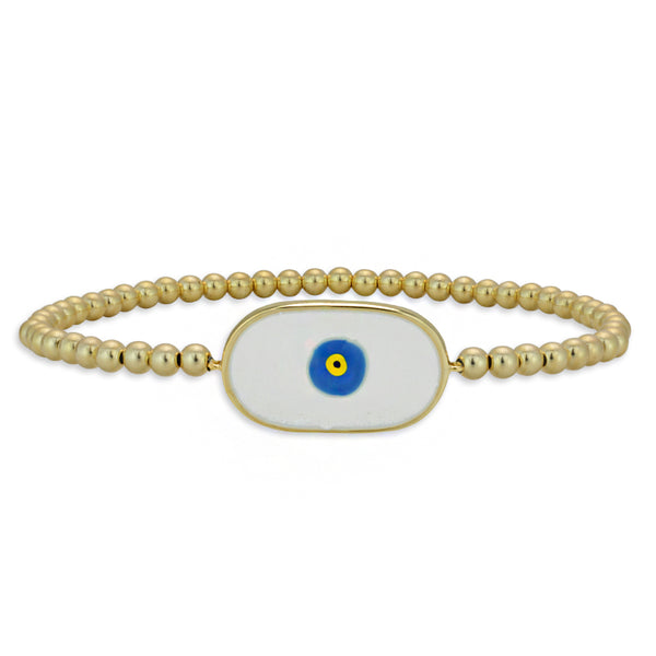 evil eye, evil eye bracelet, gold filled, gold filled beads, gold filled bracelet, protection bracelet, good luck bracelet, enamel bracelet