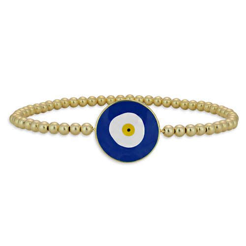 Elena Blue Turkish Evil Eye Bead Bracelet