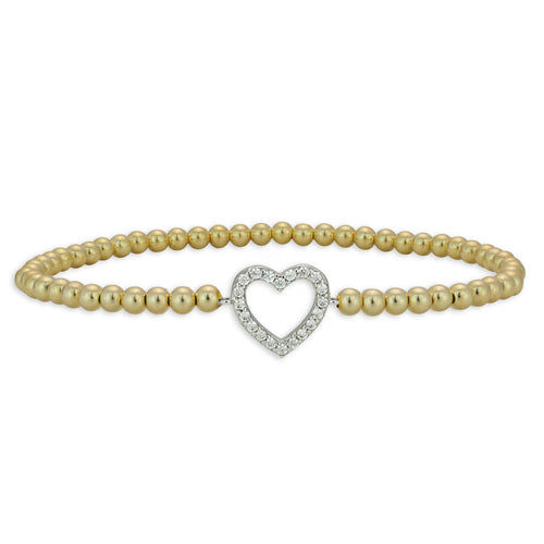 heart, heart Bracelet, Gold Filled, Gold Filled Bracelet, Sterling Silver Bracelet, CZ Pendant, gold filled beads, love bracelet