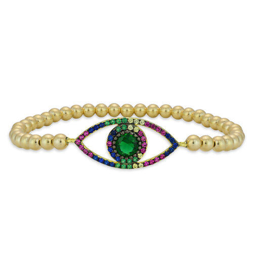 Keira Multicolor Evil Eye Bead Bracelet