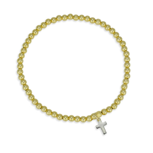Cross, Cross Bracelet, Gold Filled, Gold Filled Bracelet, religious bracelet, gold filled beads