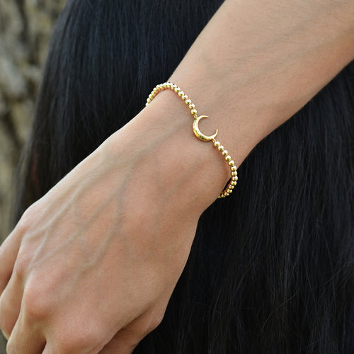 Horn, Horn Bracelet, Half Moon, Half Moon Bracelet, Gold Filled, Gold Filled Bracelet, gold filled beads