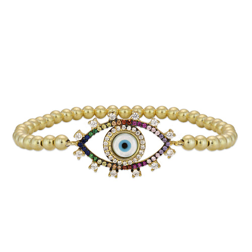 Adrianna multicolor Evil Eye Bead Bracelet