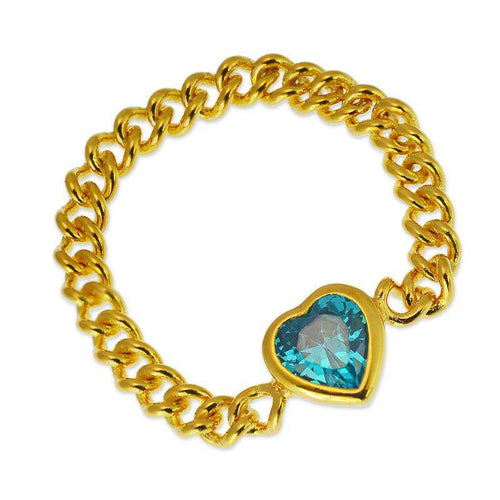 aqua quartz ring chain