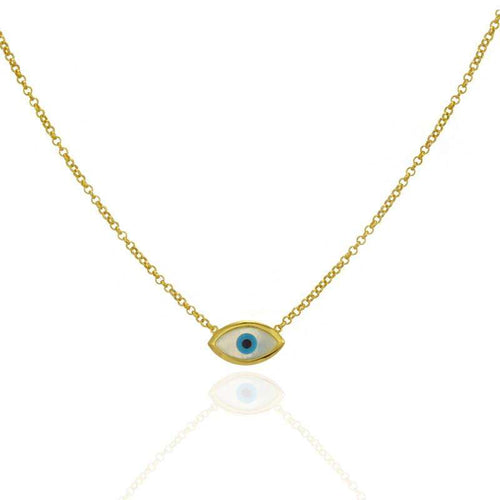 Evil Eye Mother of Pearl Necklace Sterling Silver Gold Plated