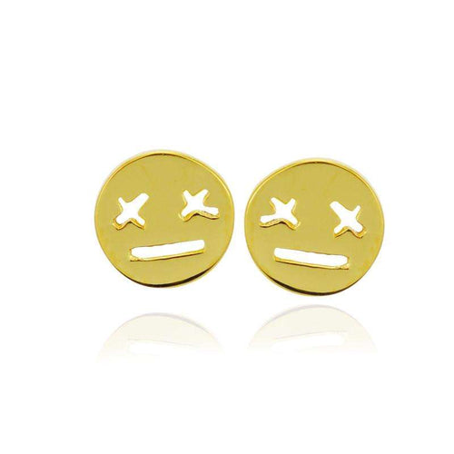 smiley earrings gold
