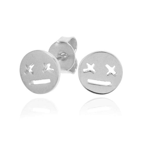 smiley earrings silver