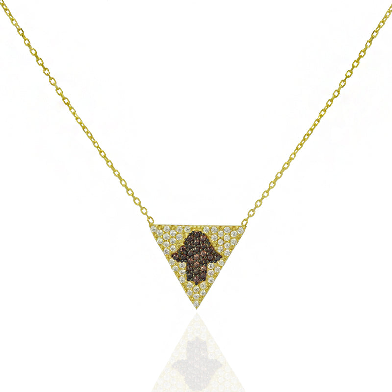 layered kd necklace com hand tranloev na gold hamsa en