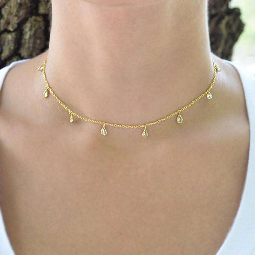 Marquise CZ Charm Choker Necklace