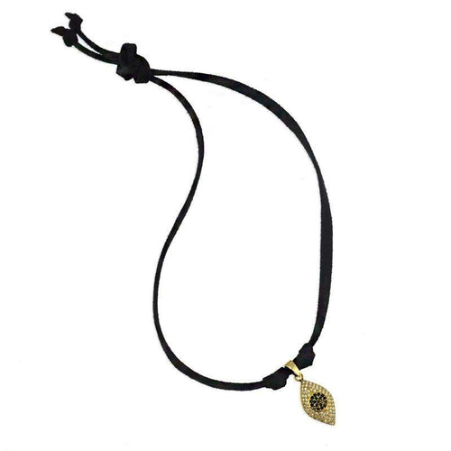 Leila Evil Eye Pendant Choker Necklace