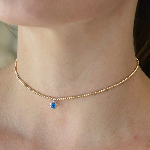Aya Blue Evil Eye Pendant Choker Necklace