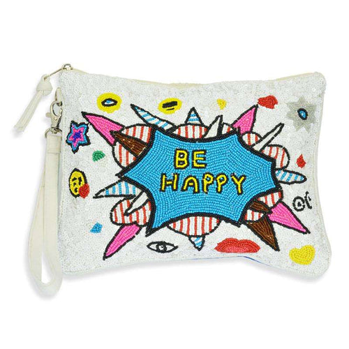 Clutch Sequins White Be happy