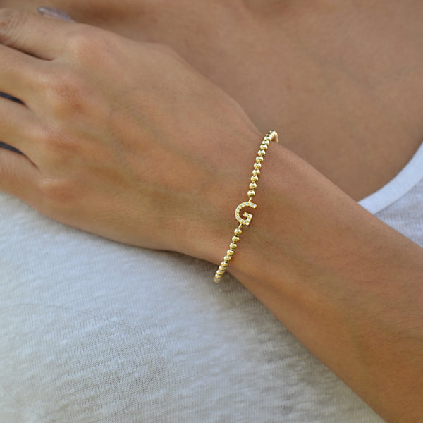 Initial, Initial Bracelet, Gold Filled, Gold Filled Bracelet, gold filled beads