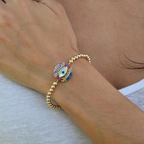 evil eye, evil eye bracelet, gold filled, gold filled beads, gold filled bracelet, protection bracelet, good luck bracelet, multicolor bracelet