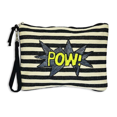 Clutch Canvas Pow Black and White