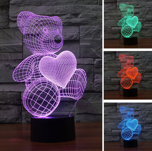 Veilleuse Ours 3D Led
