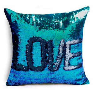 Taie d'oreiller Love en sequin - Boutique Maman