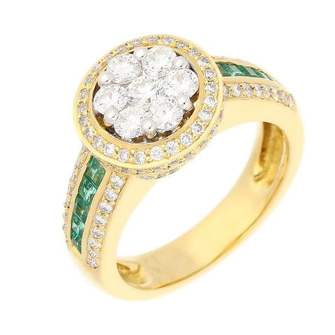18ct Yellow Gold Diamond & Emerald Ring