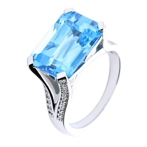 Palladium Blue Topaz Diamond Rectangle Ring