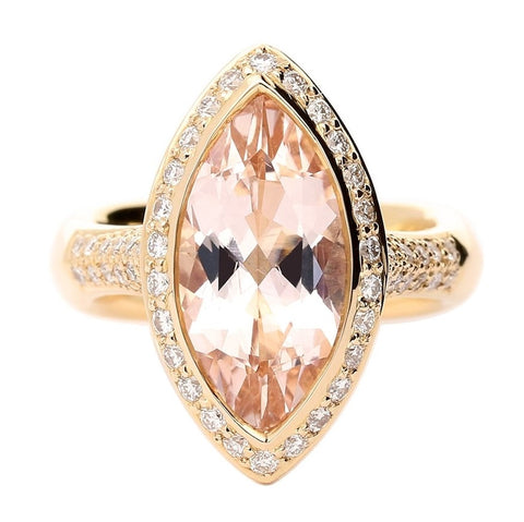 Buchwald Rose Gold Large Marquise Morganite & Diamond Ring