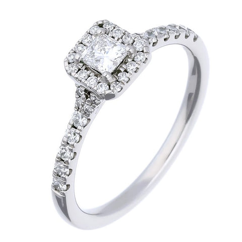 Rock Lobster Palladium Princess Cut Diamond Halo Ring