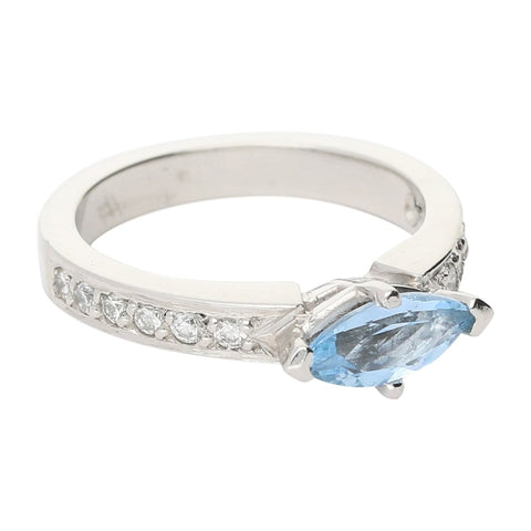 Rock Lobster Platinum Marquise Aquamarine & Diamond Ring