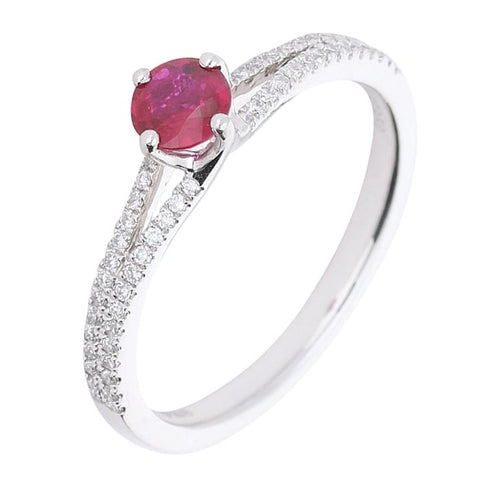 Rock Lobster Platinum Ruby Ring With Diamond Set Shoulders