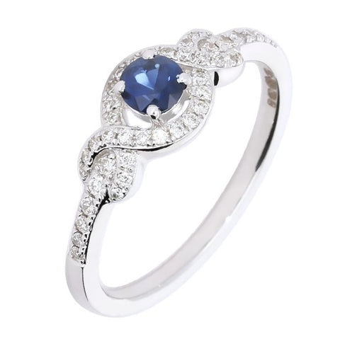 Rock Lobster 18ct White Gold Blue Sapphire & Diamond Ring