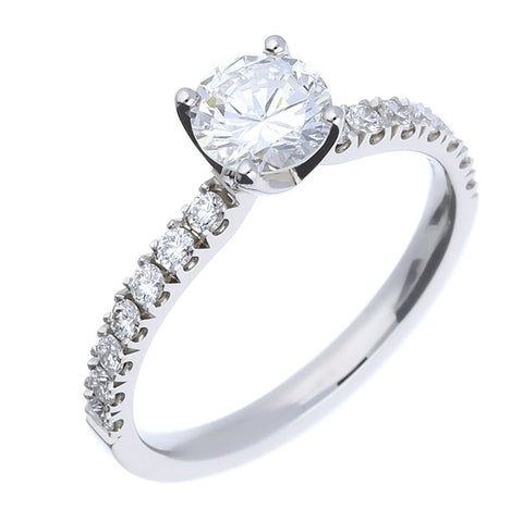Rock Lobster Platinum Diamond Ring With Diamond Set Shoulders