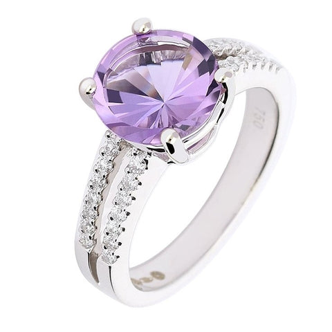 Rock Lobster White Gold Amethyst Ring With Split Diamond Shoulders