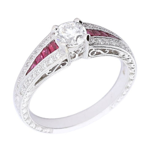 Ungar & Ungar White Gold Diamond & Ruby Ring