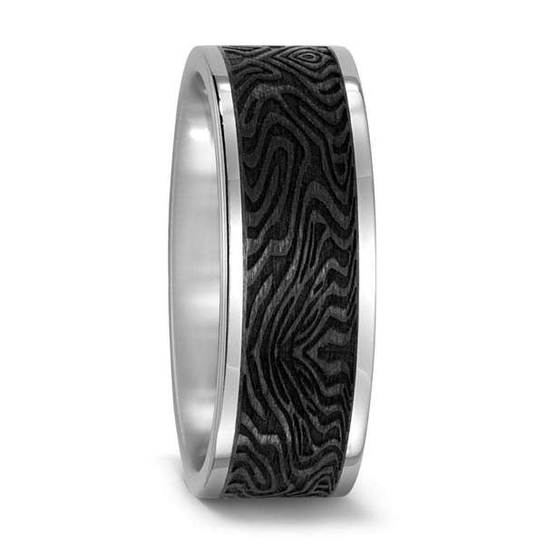 Titanium and Carbon band with textured stripe
