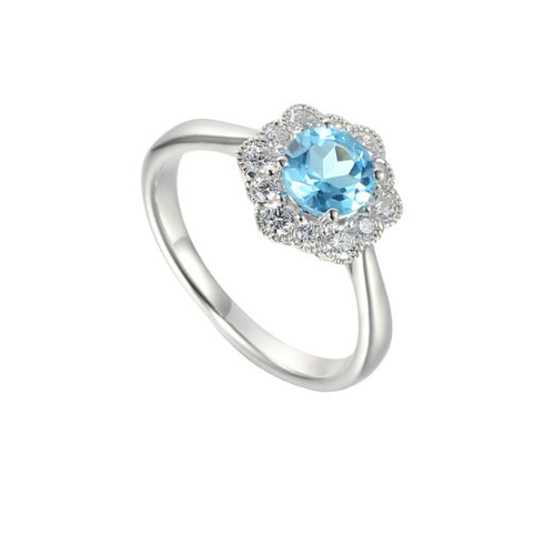 Amore Silver Blue Topaz CZ floral cluster ring