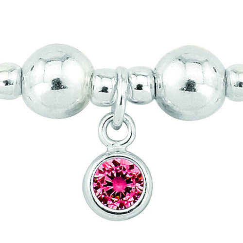 Silver and Ruby CZ July birthstone bracelet